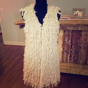 Entro long cream faux fur duster vest